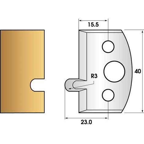 Paire de fers de toupie hauteur 40 n° 10- Rainure a joint   Fers (coupants)
