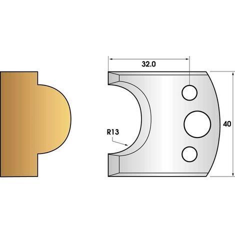 Paire de fers de toupie hauteur 40 n° 119 - mouton rayon 13mm   Fers (coupants)