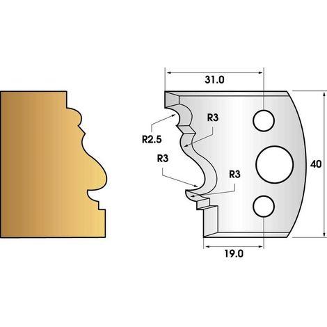 Paire de fers de toupie hauteur 40 n° 122 - moulure Louis XV | Fers (coupants)