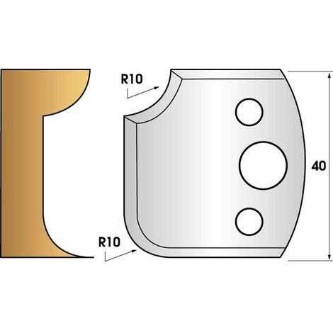 Paire de fers de toupie hauteur 40 n° 175 - 1/4 de rond 10 mm   Fers (coupants)