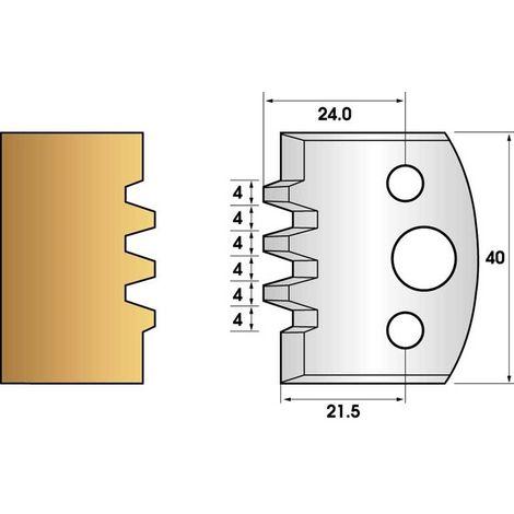 Paire de fers de toupie hauteur 40 n° 76 - bouvetage trapézoidal triple | Fers (coupants)