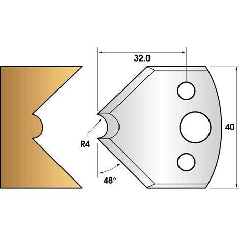 Paire de fers de toupie hauteur 40 n° 80 - mouchette rayon 4mm | Fers (coupants)