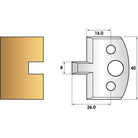Paire de fers de toupie hauteur 40 n° 94 - rainure 8mm | Fers (coupants)