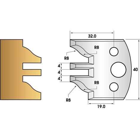Paire de fers de toupie hauteur 40 n° 97 - profil/contre-profil   Fers (coupants)