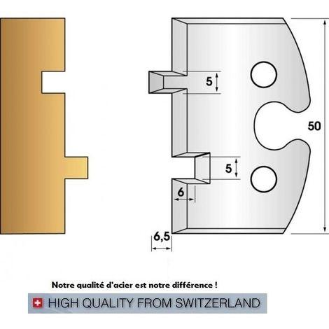 Paire de fers de toupie hauteur 50 mm n° 201 - rainure-languette 5 mm | Fers (coupants)