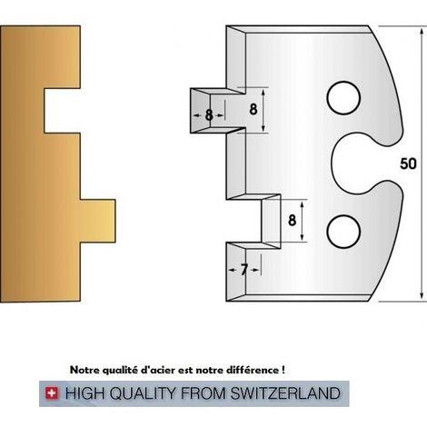 Paire de fers de toupie hauteur 50 mm n° 202 - rainure-languette 8 mm | Fers (coupants)
