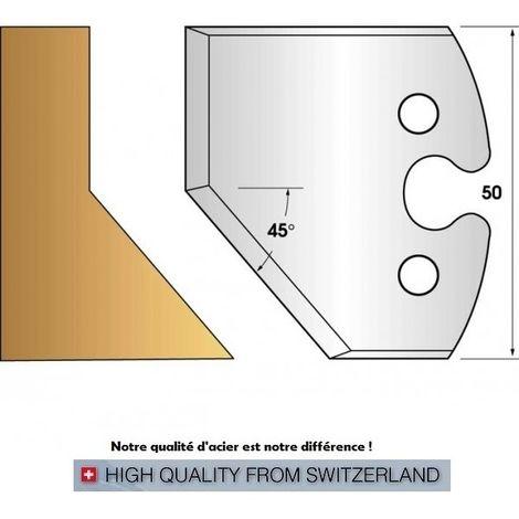 Paire de fers de toupie hauteur 50 mm n° 205 - chanfrein 45°   Fers (coupants)