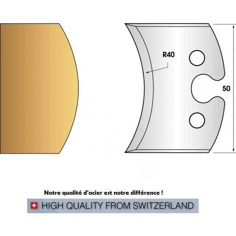 Paire de fers de toupie hauteur 50 mm n° 215 - rayon 40mm | Fers (coupants)