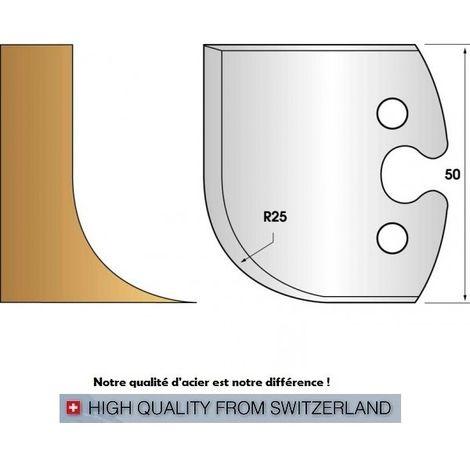 Paire de fers de toupie hauteur 50 mm n° 218 - rayon 25mm   Fers (coupants)