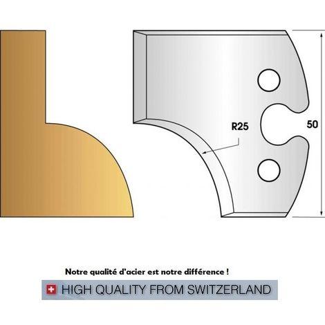 Paire de fers de toupie hauteur 50 mm n° 219 - quart de rond rayon 25 mm | Fers (coupants)