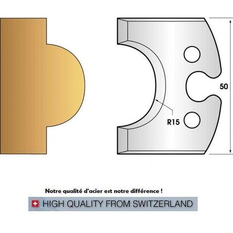 Paire de fers de toupie hauteur 50 mm n° 227 - mouton rayon 15mm | Fers (coupants)