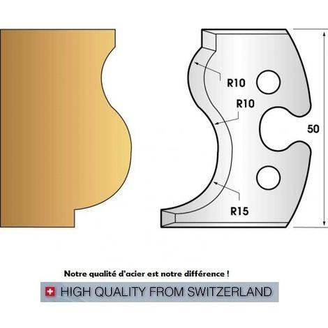 Paire de fers de toupie hauteur 50 mm n° 229 - moulure main courante | Fers (coupants)