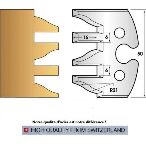 Paire de fers de toupie hauteur 50 mm n° 232 - profil/contre-profil | Fers (coupants)