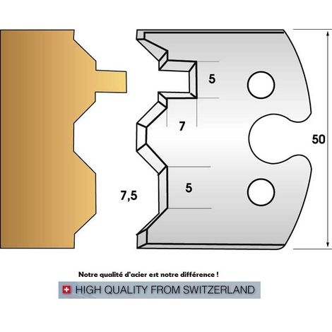 Paire de fers de toupie hauteur 50 mm n° 239 - Lambris Volet   Fers (coupants)