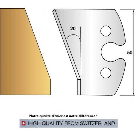 Paire de fers de toupie hauteur 50 mm n° 259 - chanfrein 20° | Fers (coupants)