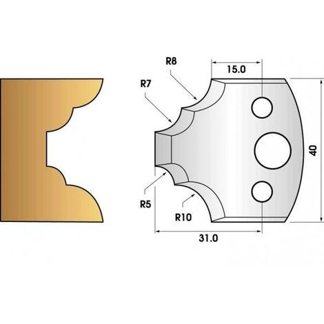 Paire de fers de toupie hauteur 40 n° 22 - quart de rond multiple | Fers (coupants)