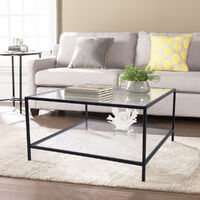 A0D1 Mesa de centro cuadrada en marco negro de vidrio 80*80*42cm
