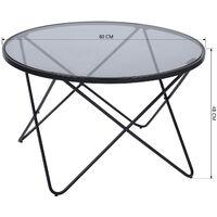 2209 Mesa de centro redonda de cristal 80x80 * 48cm