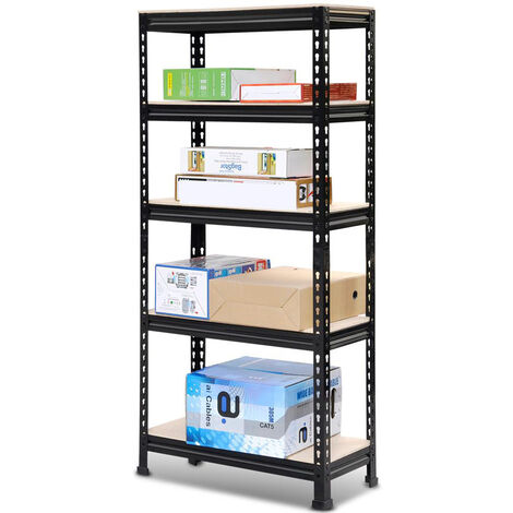 Black 1.5m 5 Tiers Garage Shelving Units Industrial Racking Garage Storage Shelves
