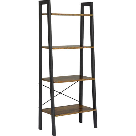 Vintage 4-Tier Storage Shelves Ladder Bookshelf Industrial Bookcase Unit Rustic Brown