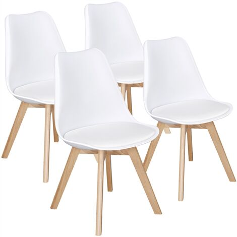 Set of 4 Mid Century Modern Style Tulip Plastic Dining Chair DSW Upholstered Side Chair with Beech Wood Legs and Soft Padded Shell Chair for Kitchen, Dining, Bedroom, Living Room or office, White