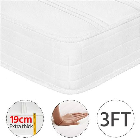 3FT Single Mattress Density Sponge 9 Layers 216 Bonnell Springs Mattress with Anti-mite Knitted Jacquard Cover 19CM Height Medium Soft Mattress, White