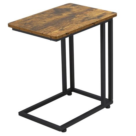 Coffee Table Side Table C-Shaped End Table, Bed Laptop Table with Metal Frame and Rolling Castors for Livingroom, Bedroom, Balcony, Rustic Brown