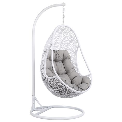 Hanging Rattan Swing Chair With Soft Cushion Armrest Design Outdoor/Indoor Garden Patio Furniture Stand White