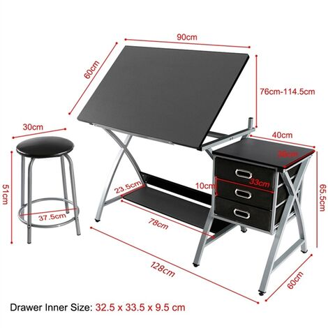 Art Drawing Desk With Adjustable Height Tiltable Tabletop Drafting Board Craft Table With Storage Drawers And