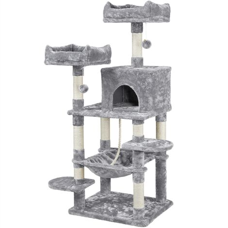 Multi Level Cat Tree Tower Cat Scratch Posts Activity Centre with Condo/Plush Perches/Scratching Post/Hammock for Medium/Large Cats,Light Grey