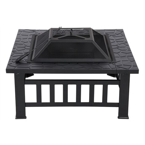 3 in 1 Outdoor Fire Pit - Metal Brazier Square Table Firepit Garden Patio Heater/BBQ/Ice Pit with Waterproof Cover