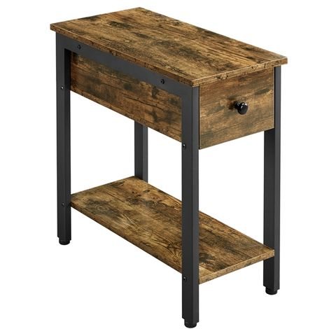 2-Tier Narrow Nightstand, Bedside Table Side Table for Small Space, Industrial End Table with Drawer and Shelf for Living Room, Bedroom, 59.50 x 29.50 x 60.00 cm Rustic Brown