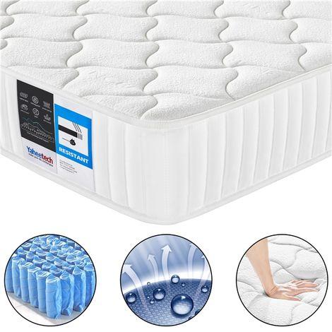 4ft6 Memory Foam Mattress Double Pocket Spring Mattress with Tencel Fabric,Medium Firm,Orthopedic Bed Mattress,135x190x22cm
