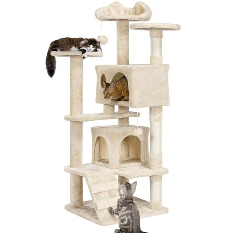 Large Cat Tree Tower Cat Activity Centre for Kittens/Adult Cats, 138cm Cat Tree Tower Cat Scratcher Activity Centres Scratching Post, Beige