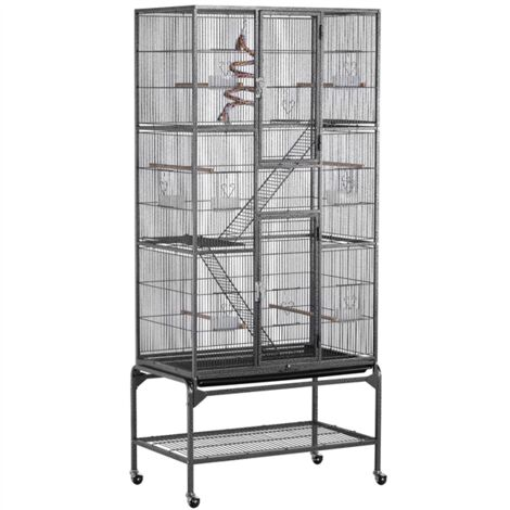 Large Iron Pet Cage for Rat/Ferret/Chinchilla/Degu/Hamster/Guinea pigs or other Small Animal Pets Rodent Cage on Wheel with 3 Wiers and Ladders