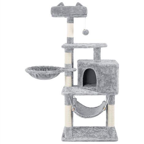 139cm Cat Tree Tower, Cat Stand, Cat Scratching Post with Kitten Condo/Perch/Platform/Hammock/Basket/Cat Toy/ 5 Cat Scratching Posts for 2-3 Indoor Cats, Light Grey