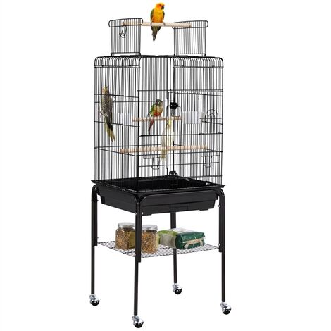 136 cm Rolling Large Bird Cage Parrot Cage for Budgerigars Cockatiels Monk Parakeets with Stand/Wheels, Black