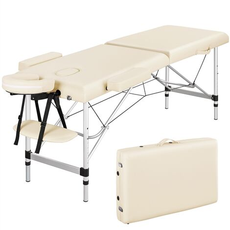 Adjustable Massage Table Folding Salon Beauty Bed Portable Spa Table with Headrest Armrest for Wellness Body Care Beige