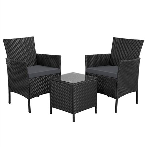 2 Seater Garden Furniture Sets Corner Patio Sofa Dining Set Rattan Wicker Chairs and Coffee Table with Cushions,Black/Grey