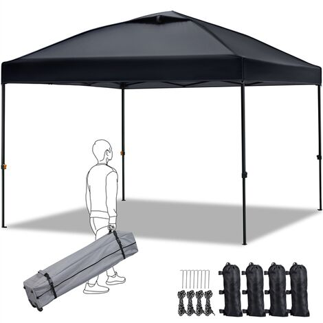Pop Up Gazebo, Canopy Patio Instant Shelter with Wheeled Carry Bag and 4 Sand Bags, Better Air Circulation on the top, 3x3m Black