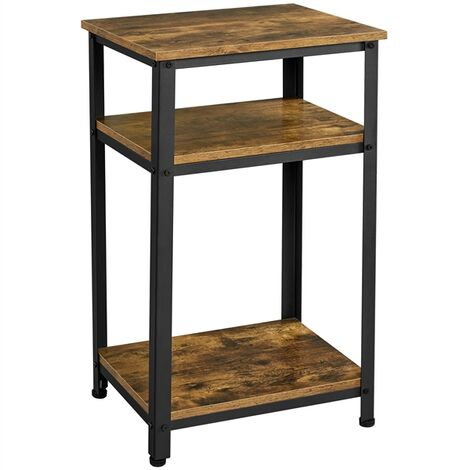 Tall Bedside Table/Nightstand with Storage Shelf, Industrial Telephone Table, Sofa Side Table for Small Spaces, Living Room, Bedroom, Rustic Brown