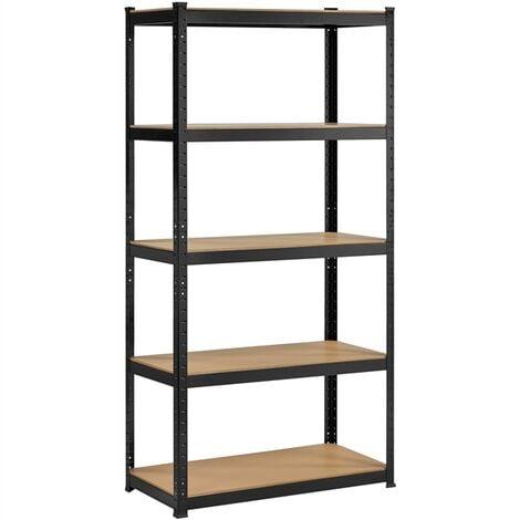 5 Tier Garage Shelving Unit Heavy Duty Racking Shelves for Storage, Black