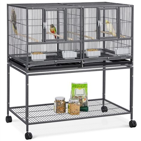 Stackable Wide Bird Cage Divided Breeder Cage for Small Birds Lovebirds Finch Canaries Parakeets Cockatiels with Rolling Stand Black