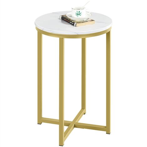 Marble Effect Side Table, Round End Table with Metal Frame, Small Tea Table Bedside Table with X-Based and Sturdy Metal Legs for Living Room Bedroom, Mustard Gold