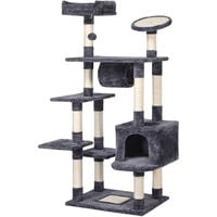 157cm Large Cat Tree Activity Centre Sisal Scratching Post Climber Play Tower Dark Gray
