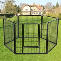 Heavy Duty 6 Panel Puppy Play Pen Whelping Box Dog Exercise Pen Cat Fence Black