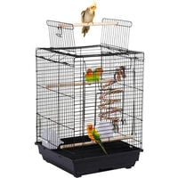 Small Open Top Bird Cage Canary Parakeet Cockatiel Budgie Parrot Cage With Toy
