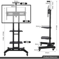 Mobile TV Stand/Cart for 32 -65 inch LCD/LED Flat Screen with Wheels & 3-tier Shelve
