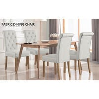 Classic Fabric Upholstered Dining Chairs Spring Padded Seat High Back Roll Top Scroll Desk Chairs w/Adjustable footpads Soild Oak Legs for Home & Commercial Set of 2,Beige