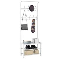 White 187cm Heavy Duty Metal Hanger Hooks Stand Rack For Coat Shoes Hat Bag Umbrella